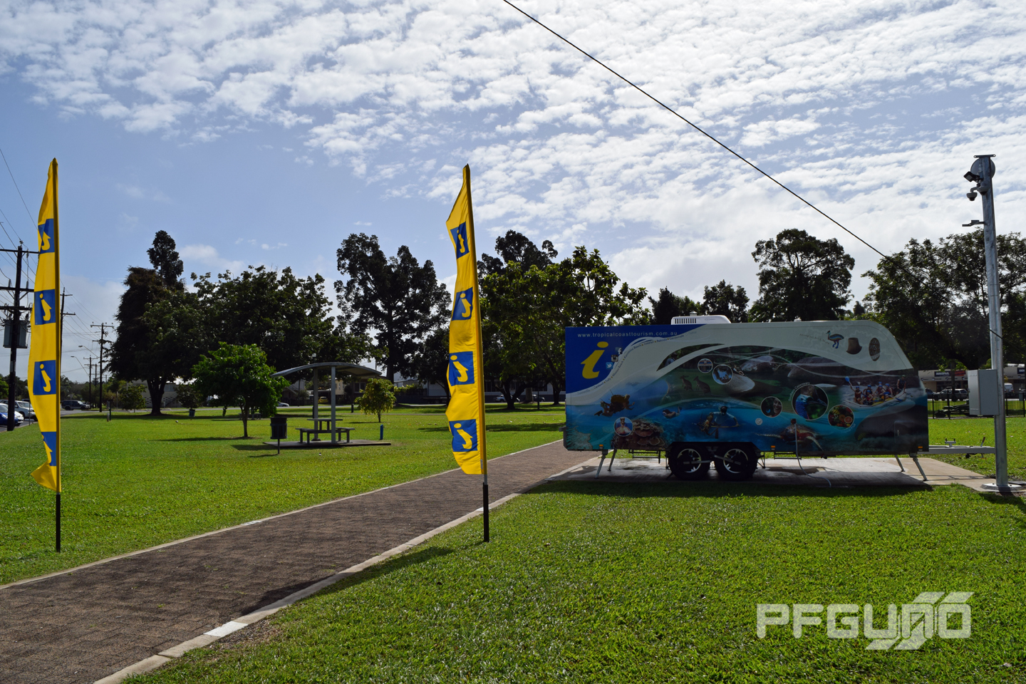 Tourist Info Trailer With Flags